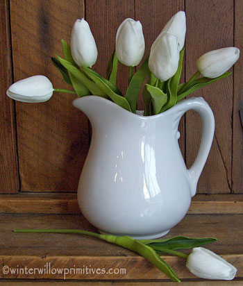 6 Mini White Tulips